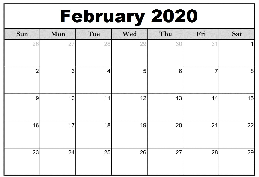 Free Printable February 2020 Calendar – For Examination