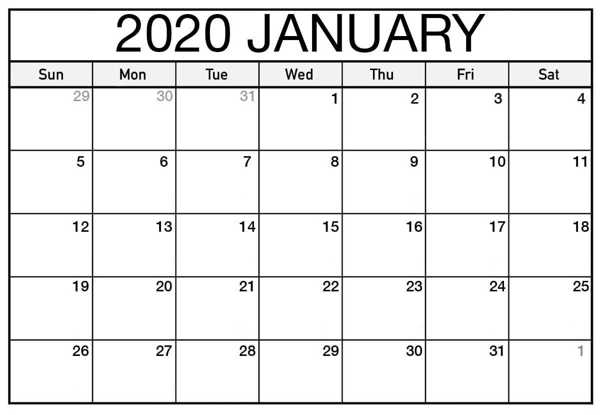 Free Printable January 2020 Calendar Blank Template - Net