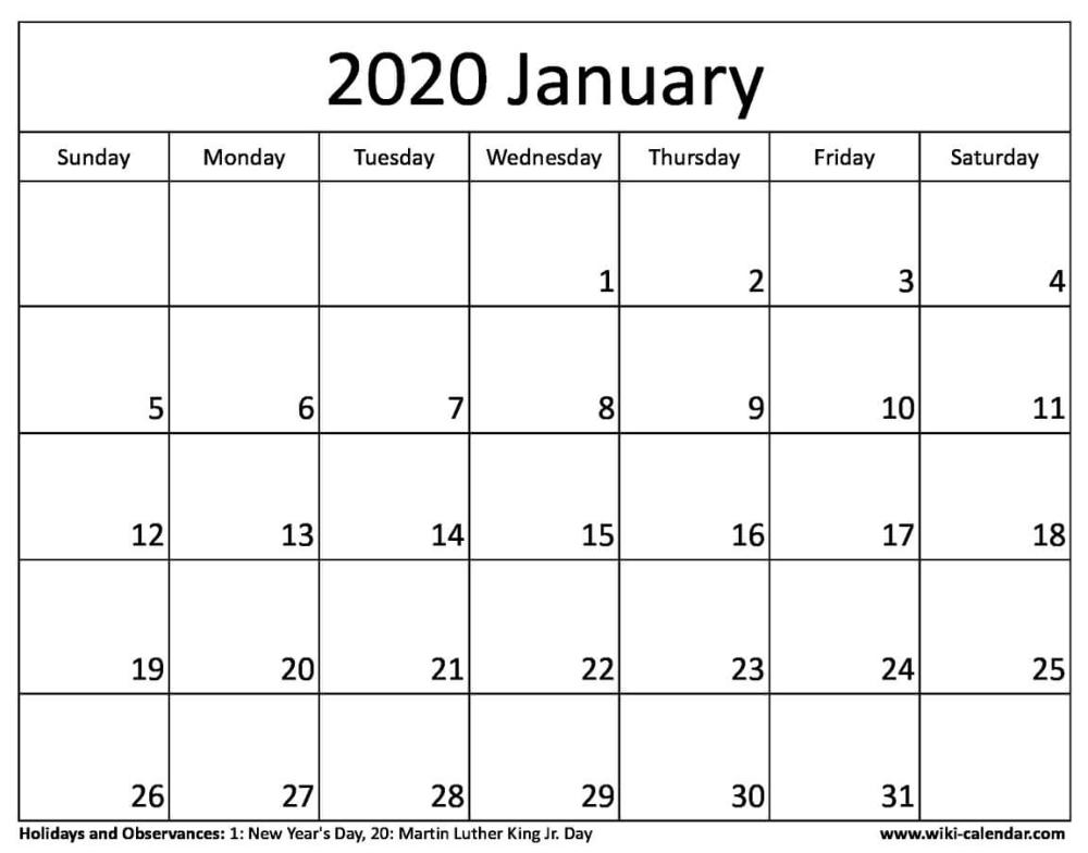 Free Printable January 2020 Calendars   2020 Calendar