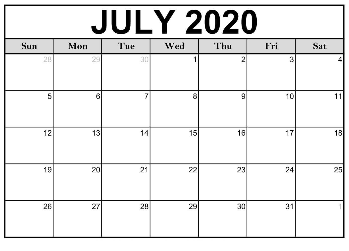Free Printable July 2020 Calendar Monthly Template