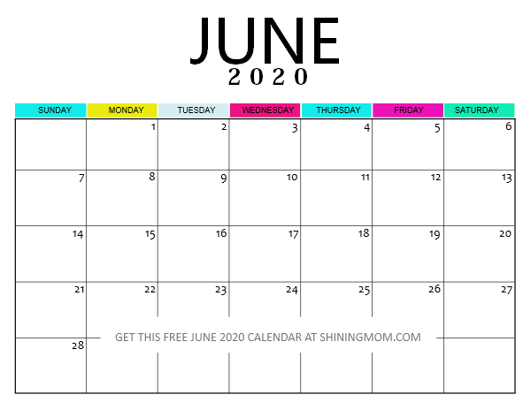 Free Printable June 2020 Calendar: 12 Fantastic Designs!