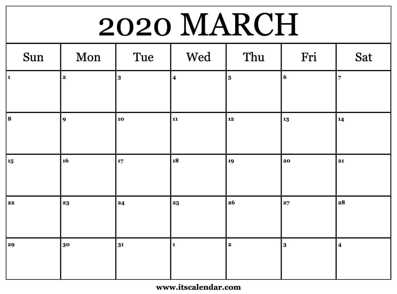 March 7 2020 Calendar