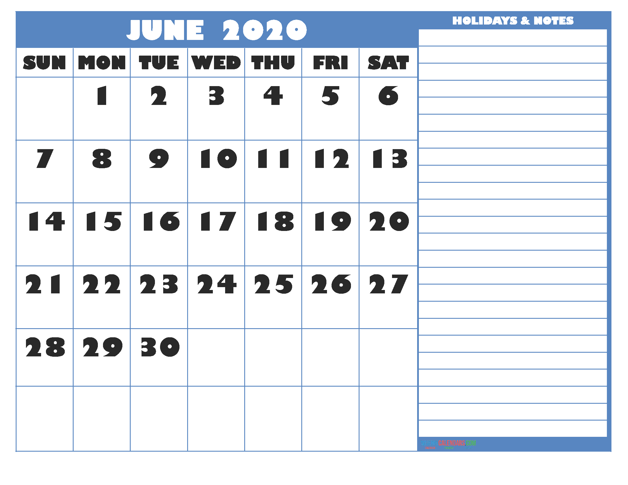 Free Printable Monthly 2020 Calendar With Holidays June