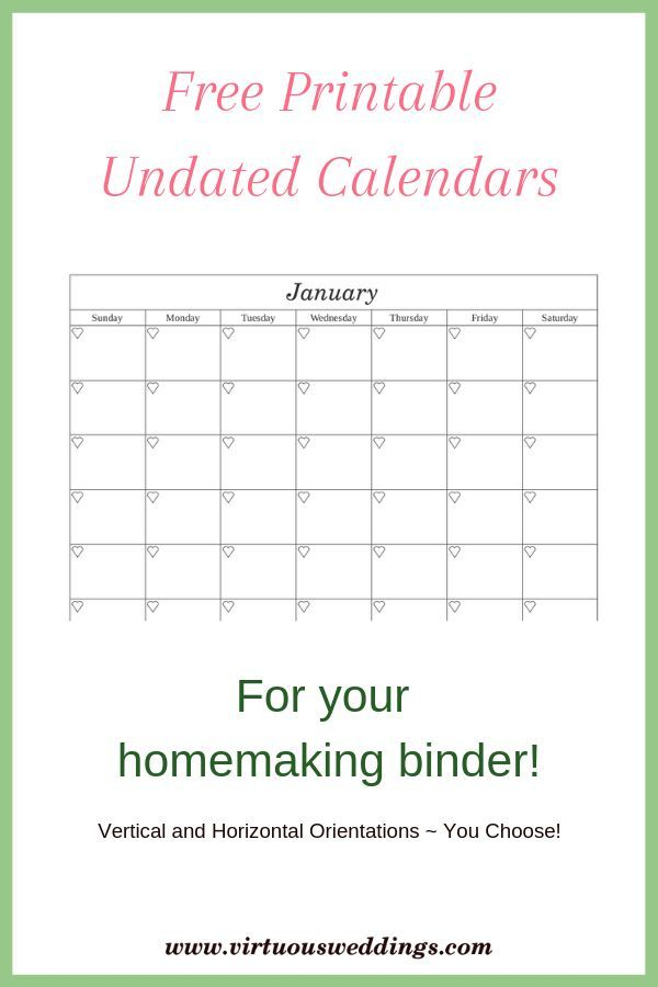 Free Printable Undated Calendars In Two Styles | Home