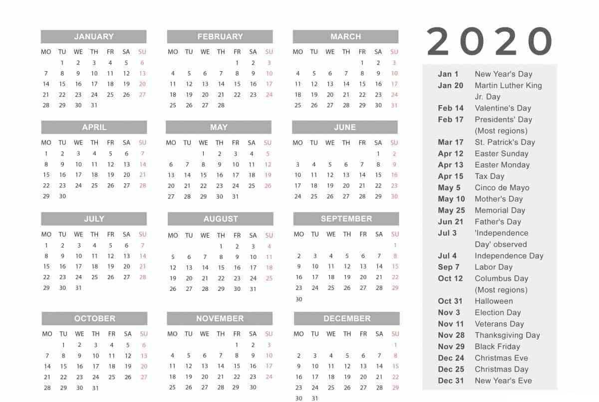 Free Printable Vacation Calendar 2020 | Calendar