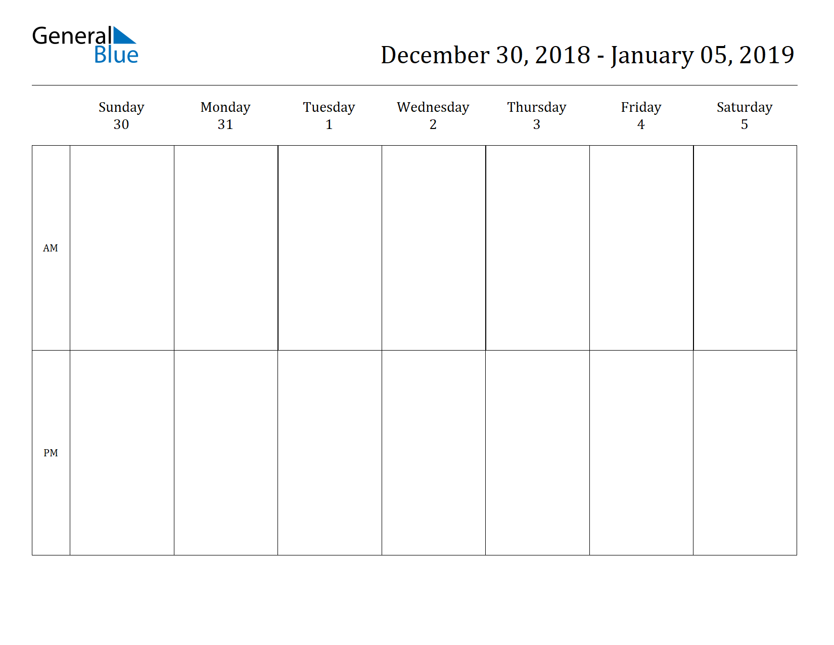 Free Printable Weekly Calendars For 2019 In Pdf Document