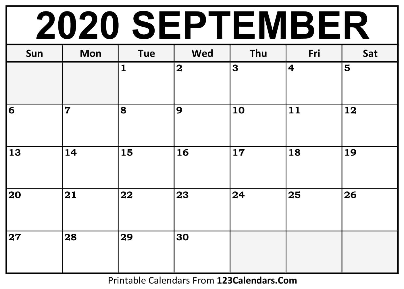 Free September 2020 Calendar | 123Calendars
