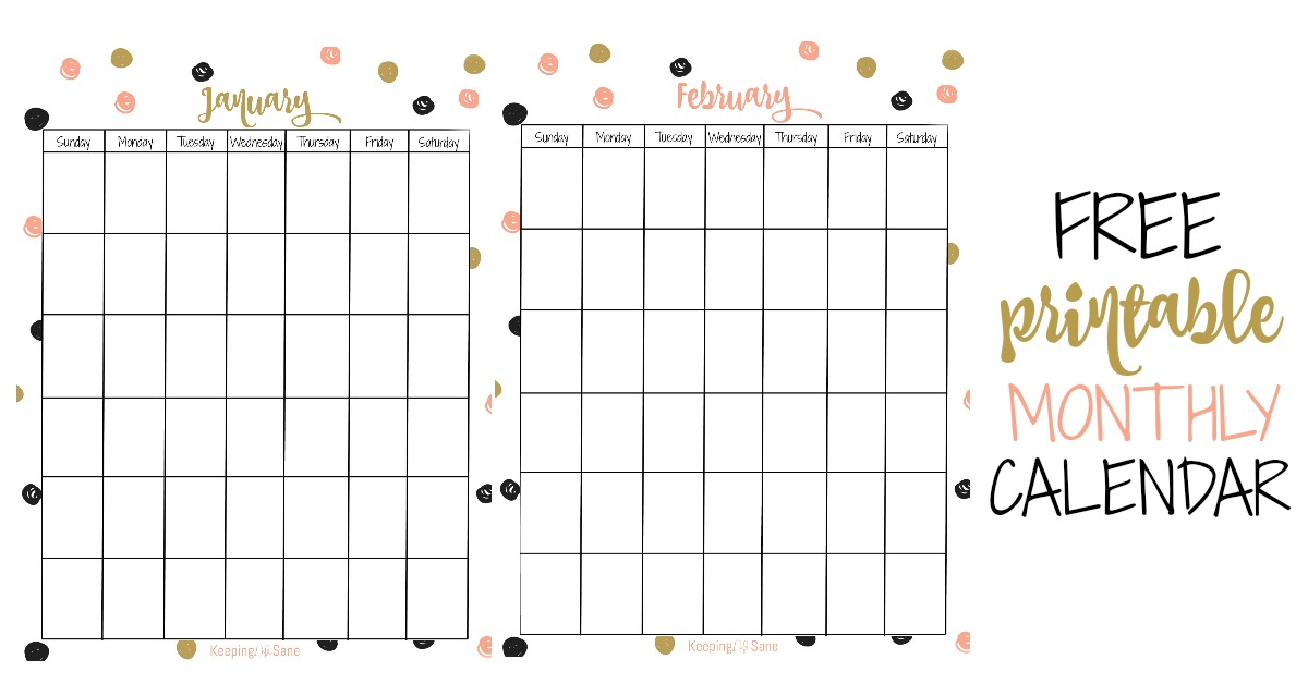 Free Vertical Printable Monthly Calendar - Keeping Life Sane