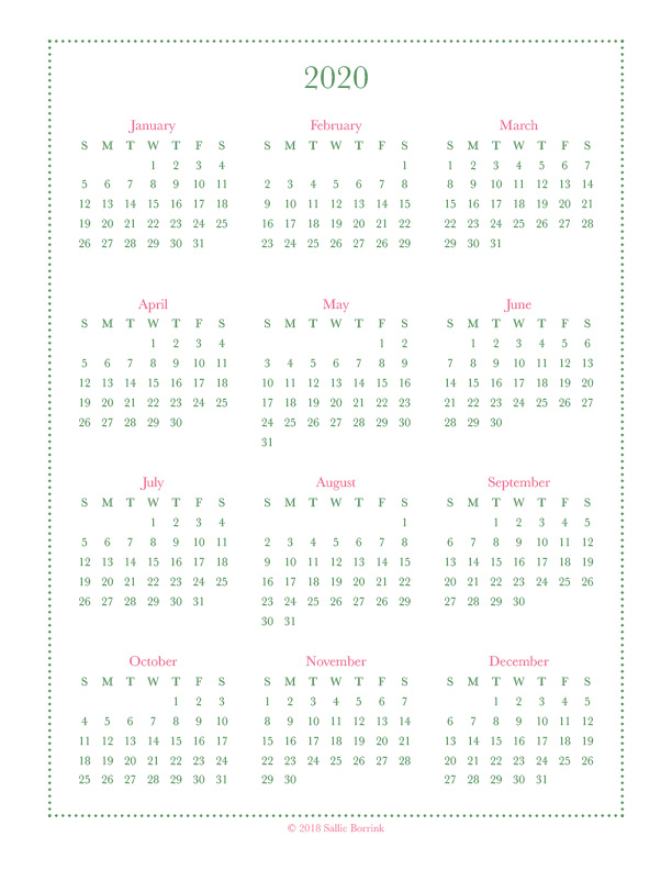 Free Year-At-A-Glance Calendar Printables {2019 And 2020