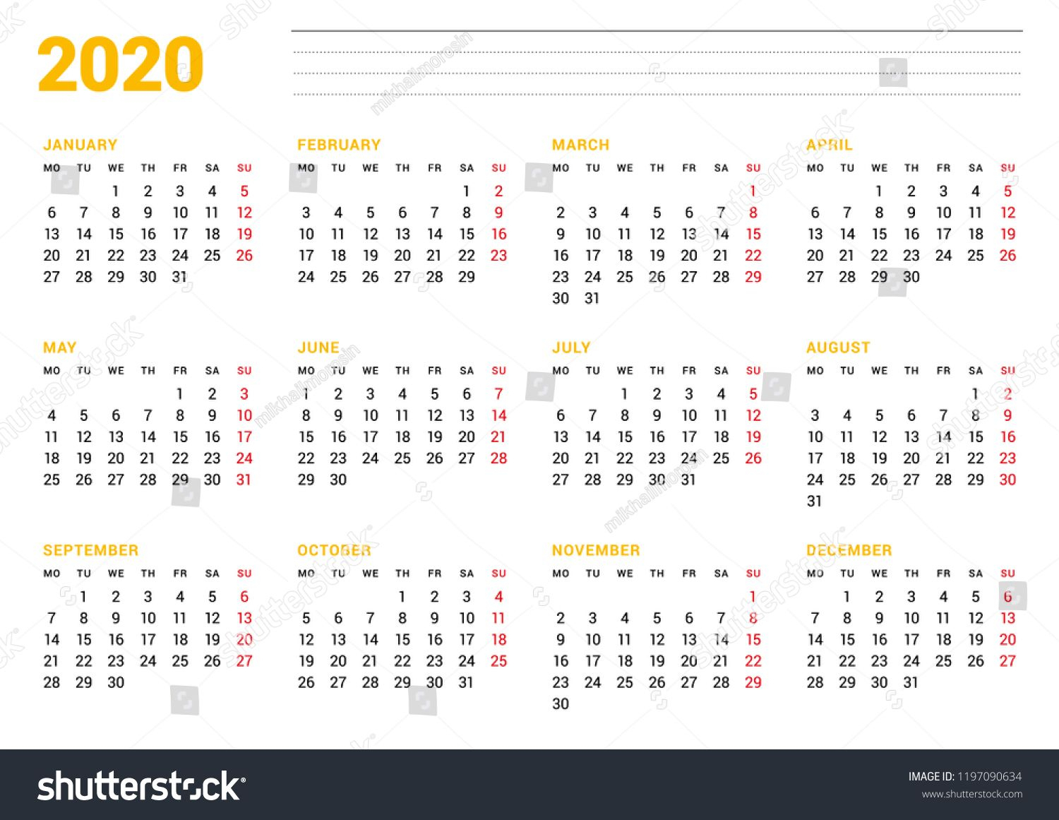 Get 2020 Calendar That Starts With Monday | Calendar