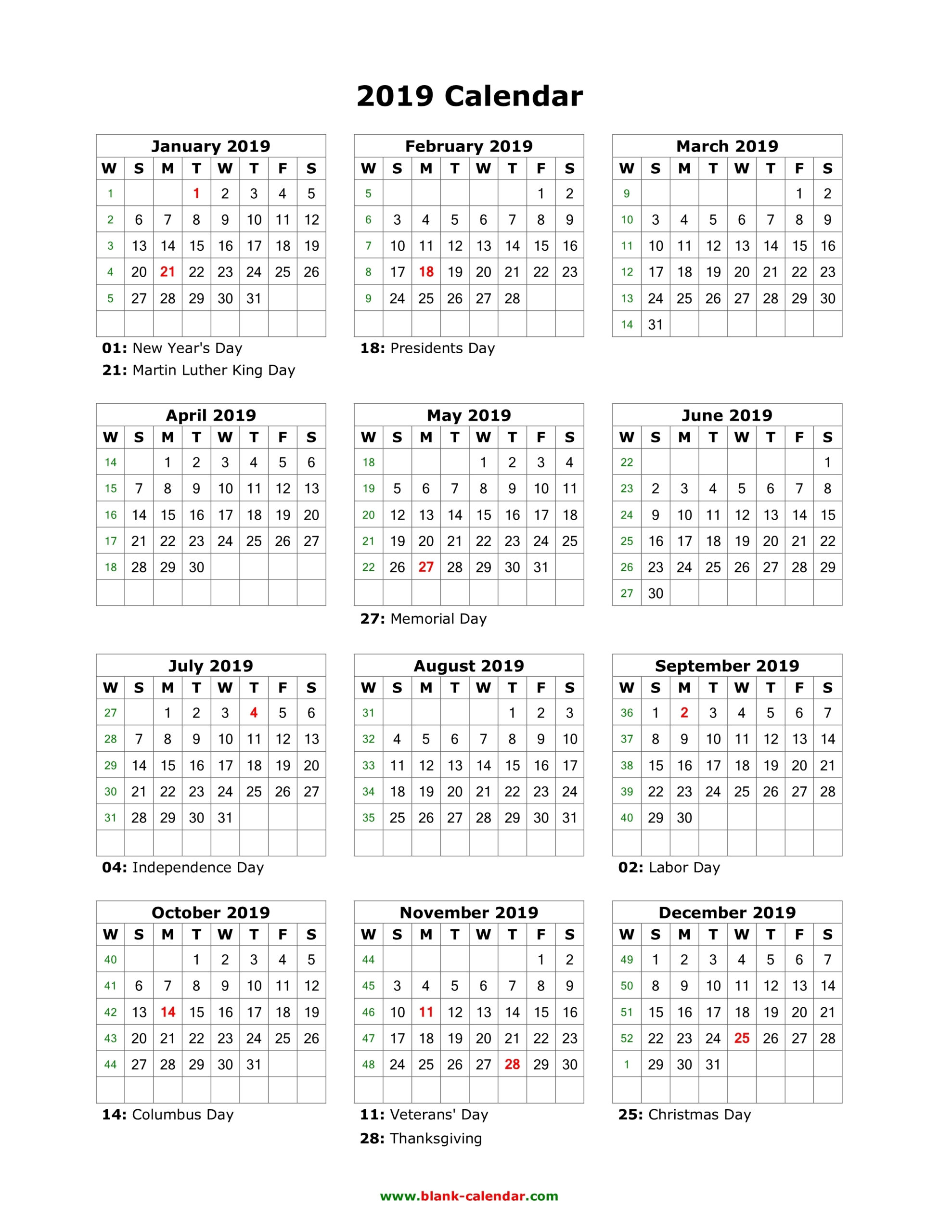 Get Blank 2019 Year Calendar On One Page ⋆ The Best