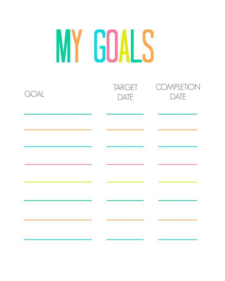 Goal Print-Out | Goal Charts, Printable Chart, Goal