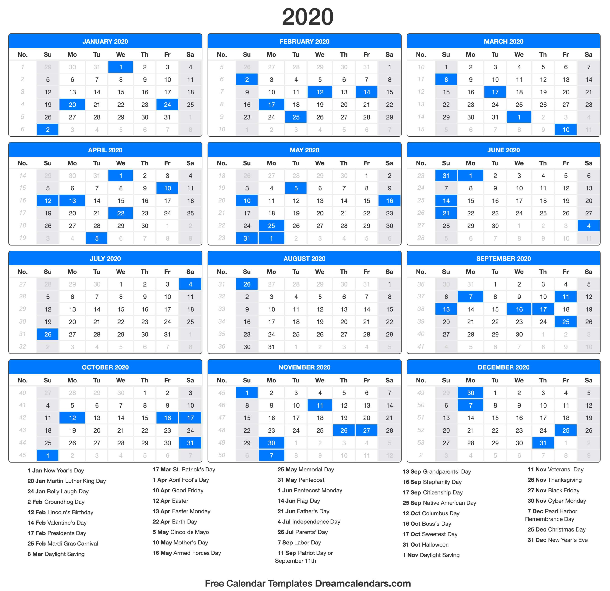 Government Calendar 2020 With Holidays | Calendar