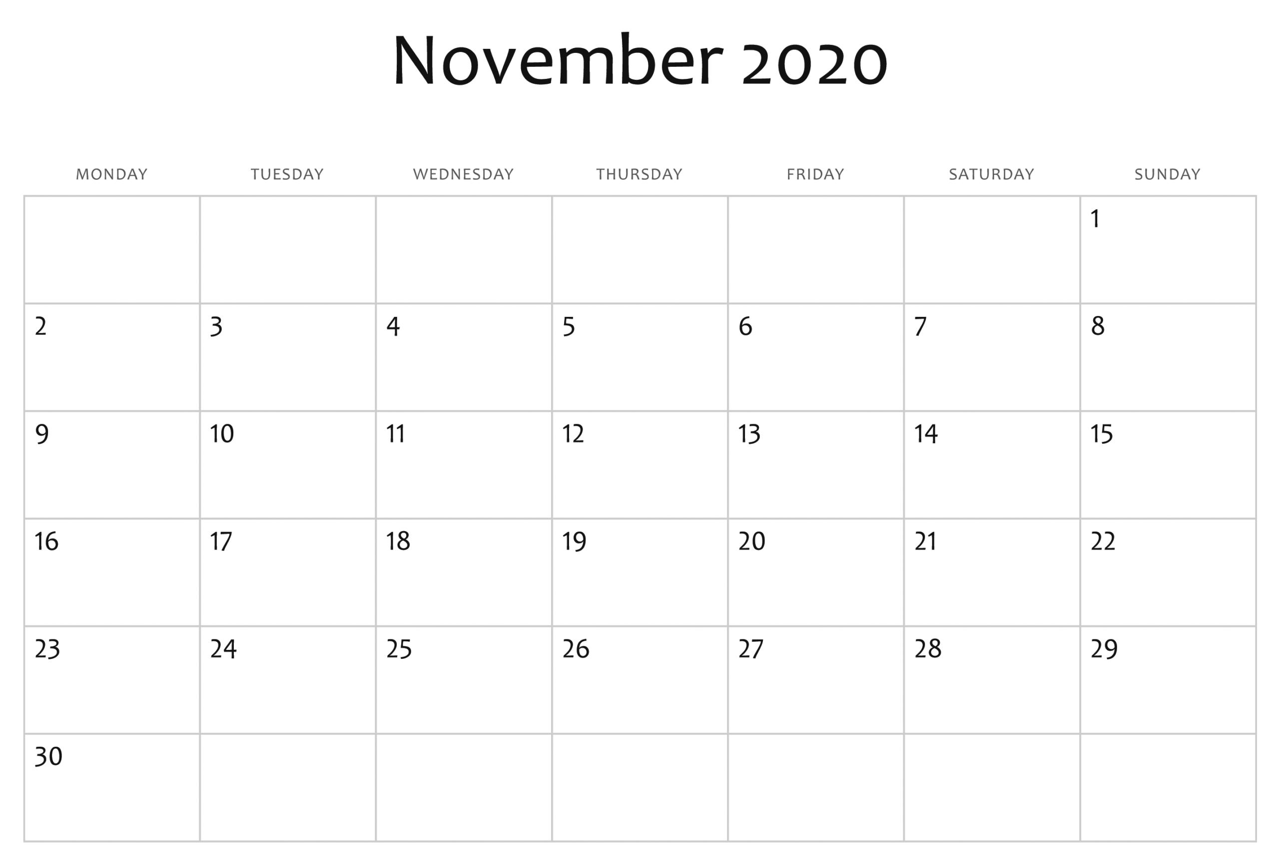 Great Pic November 2020 Calendar Popular In 2020 | Monthly