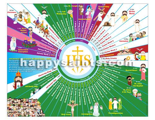 Happy Saints: Happy Saints Liturgical Calendar 2015 Eposter