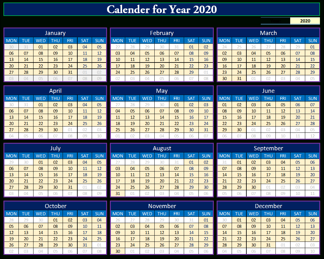 How To Make Fully Dynamic Calendar For 2020 In Excel