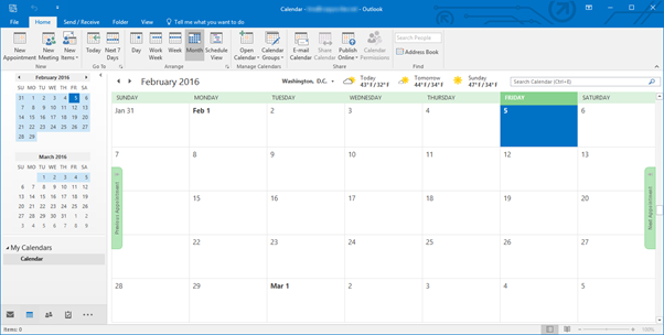 How To Use The Calendar In Outlook 2016 | Universalclass