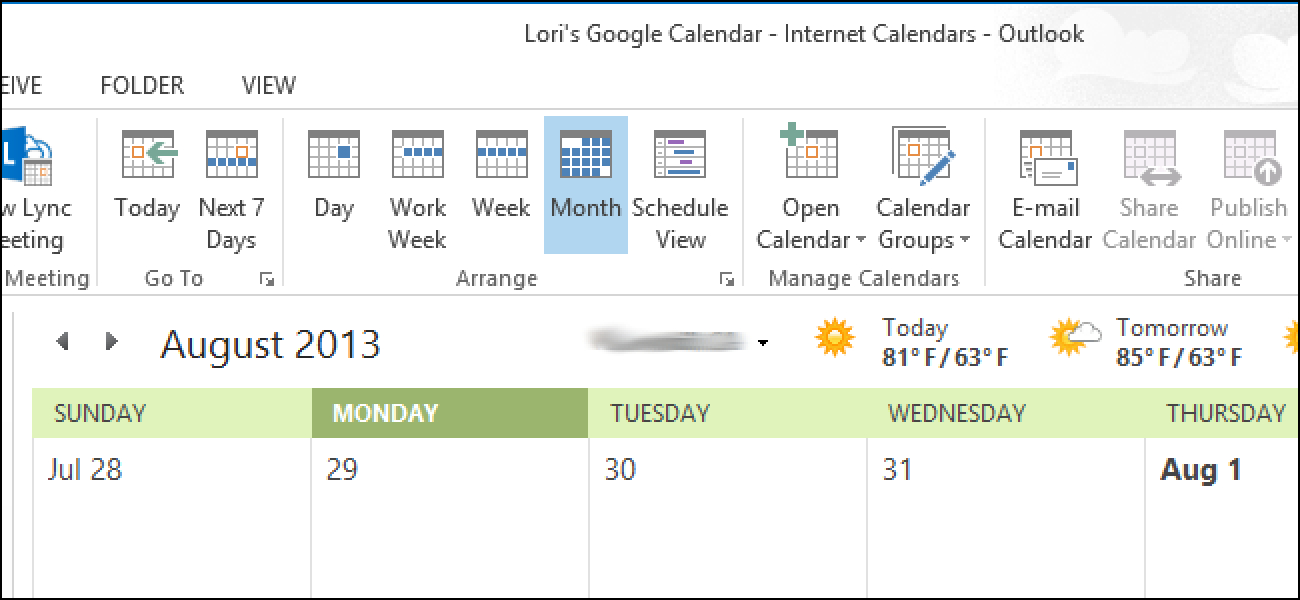 How To View Your Google Calendars In Outlook 2013