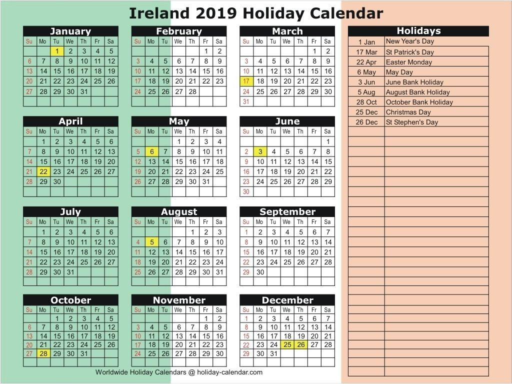 Ireland 2019 / 2020 Holiday Calendar Make It | Holiday