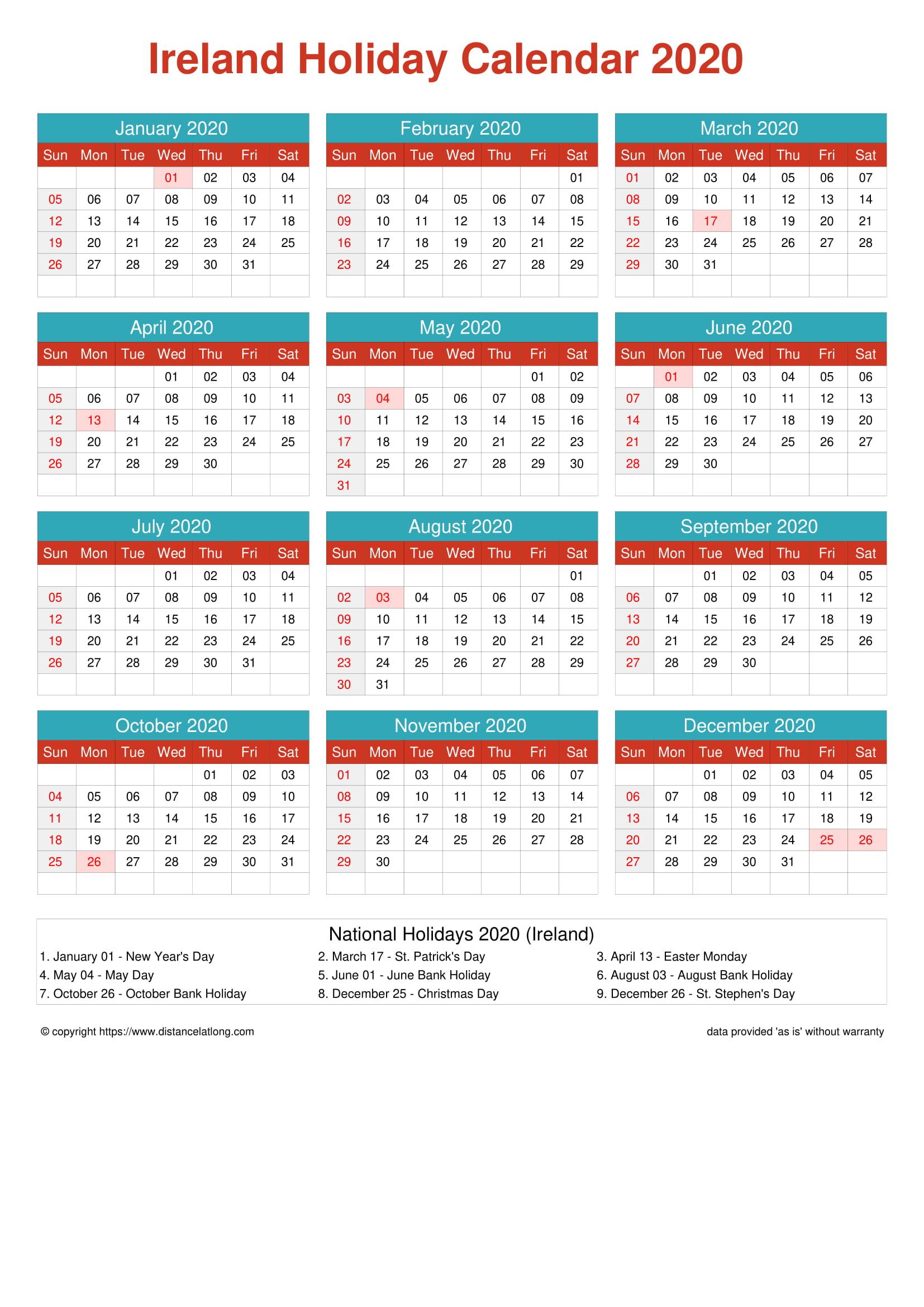 Free Printable Calendar Ireland 2020