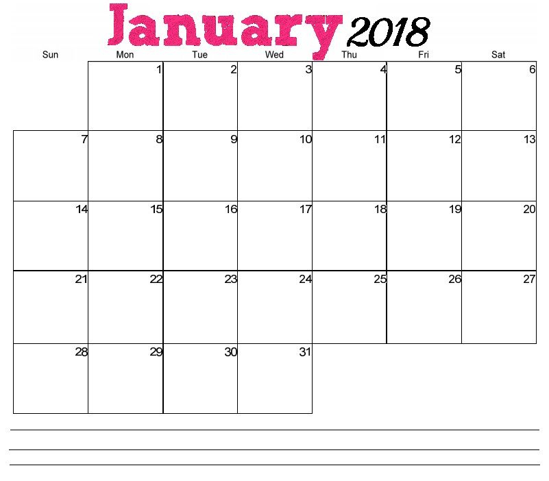 January 2018 Horizontal Calendar | Calendar, Free