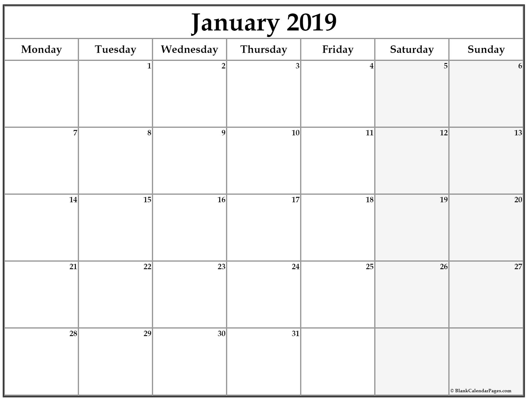 January 2019 Monday Calendar | Monday To Sunday