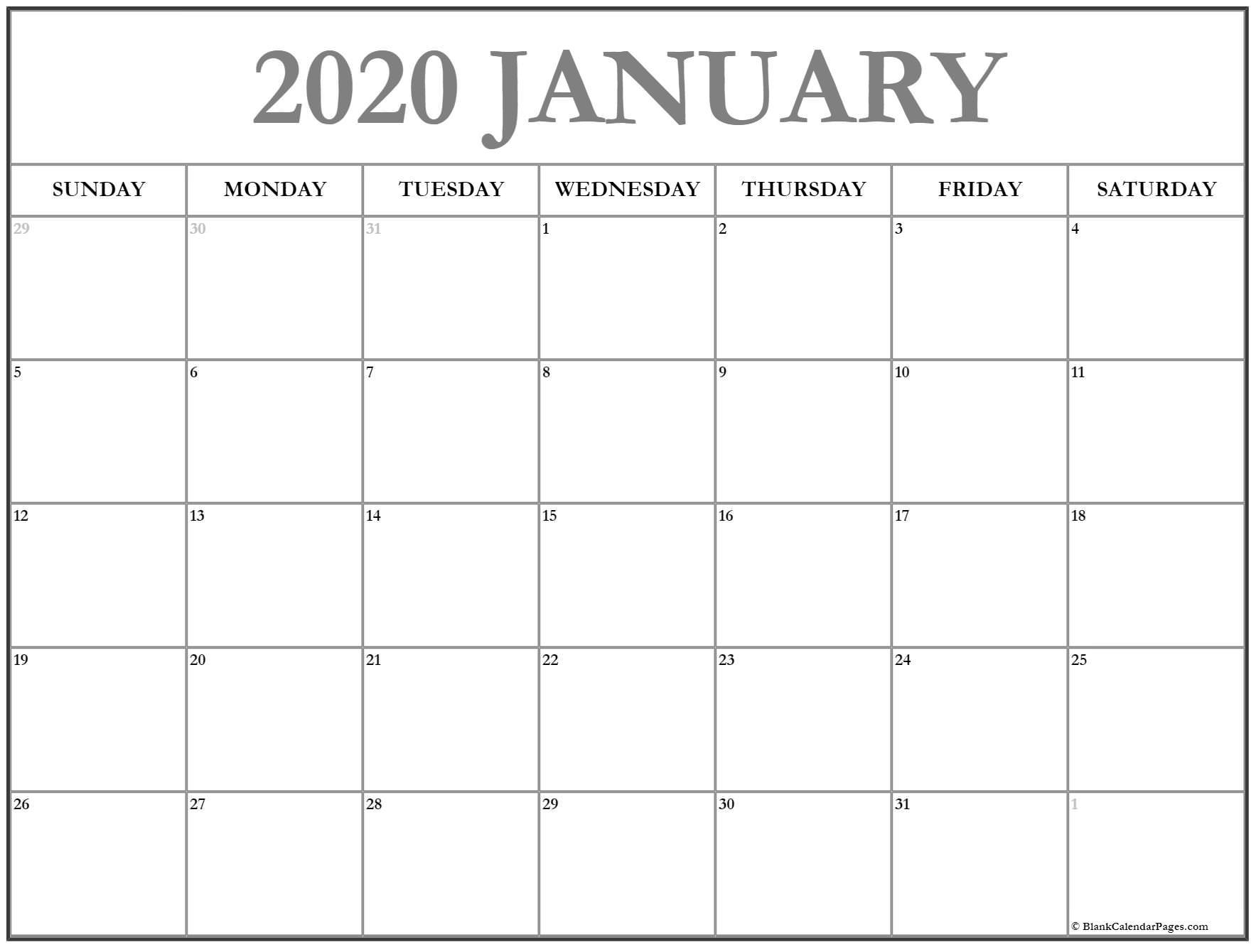 January 2020 Calendar | 56+ Templates Of 2020 Printable