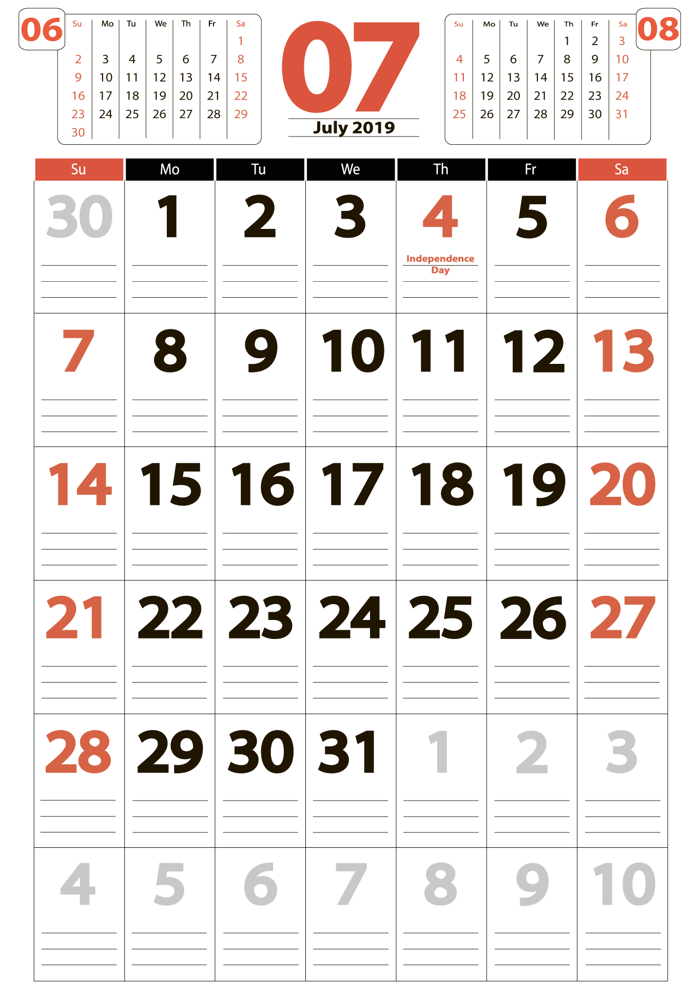 July 2019 Calendar With The Us Holidays