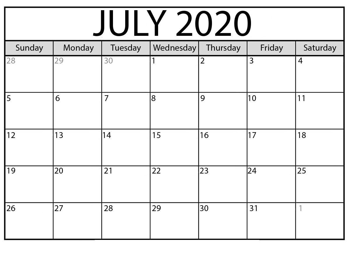 July 2020 Calendar Printable (Blank Calendar Word)