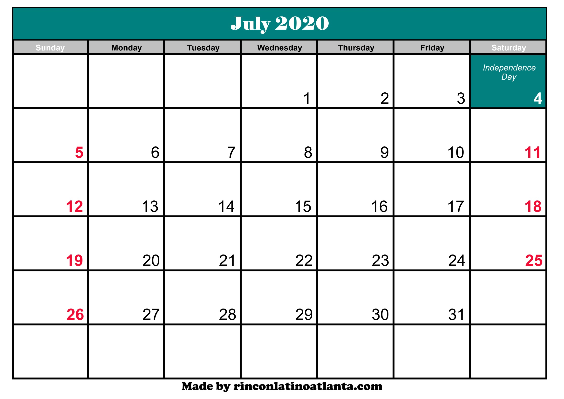 July 2020 Calendar Printable With Holidays | Calendar