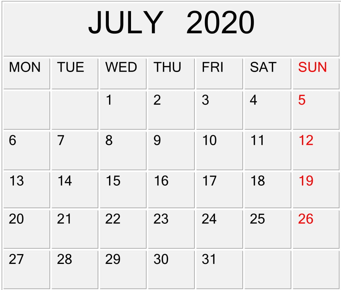 July 2020 Calendar Template For Word, Pdf, And Excel Free