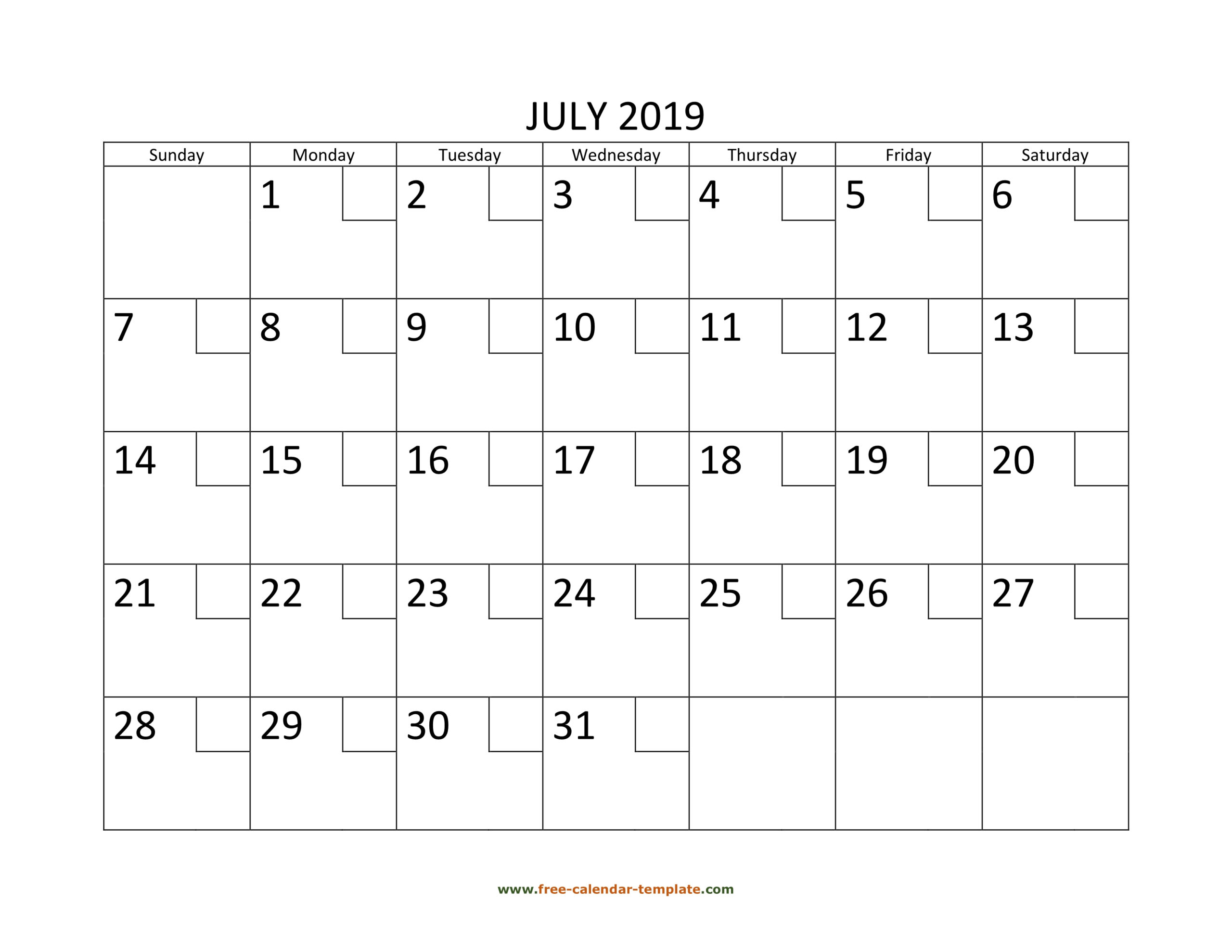 July Calendar 2019 Printable With Checkboxes (Horizontal