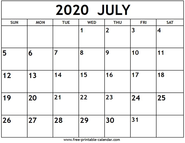 July Calendar 2020 Printable Free | Example Calendar Printable