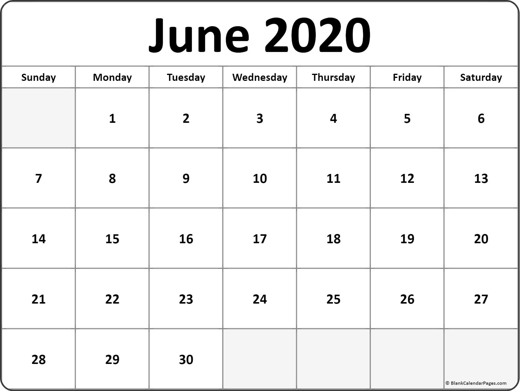 June 2020 Blank Calendar Templates.