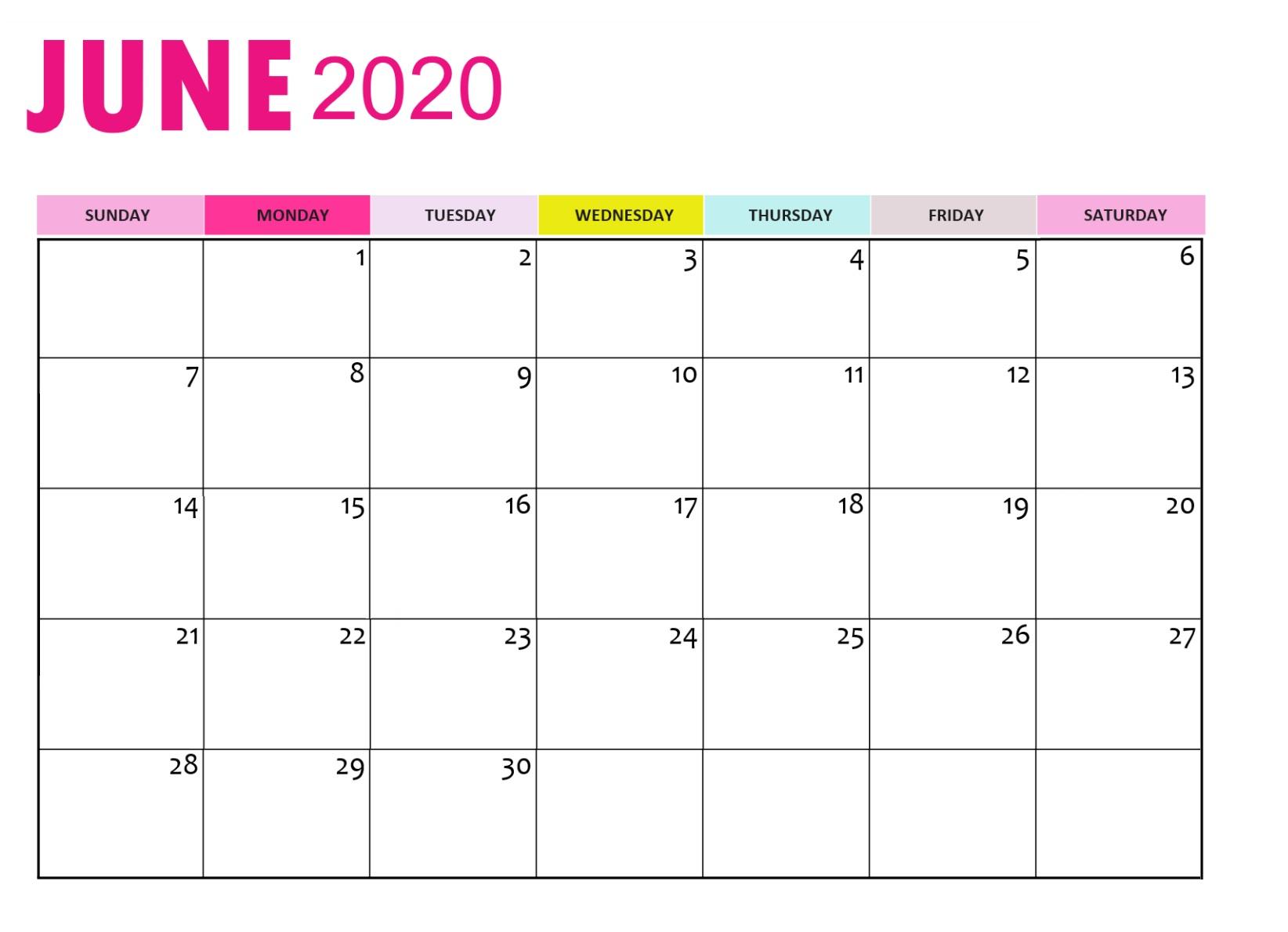 June 2020 Calendar | Calendar 2019