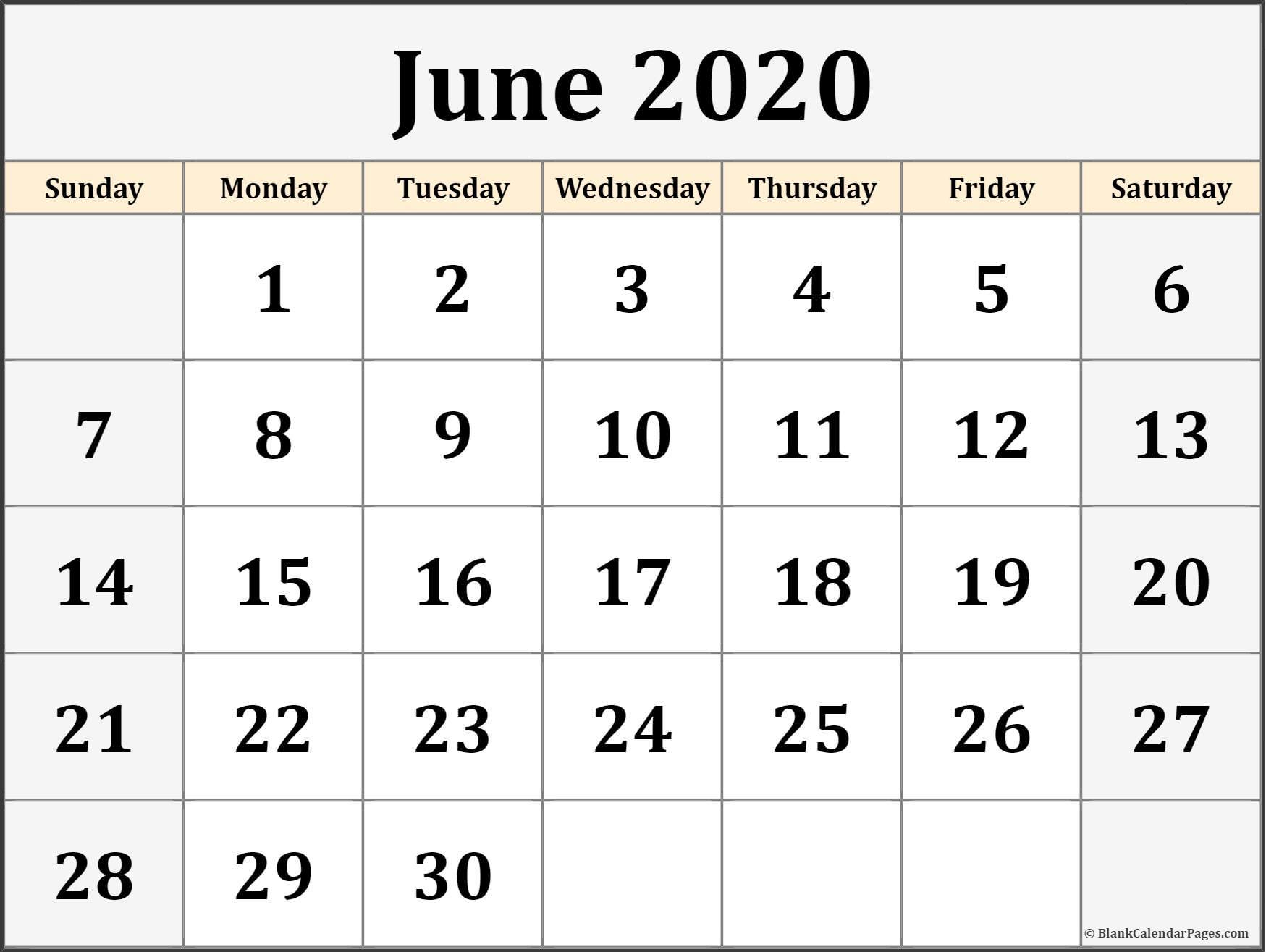 June 2020 Calendar   Free Printable Monthly Calendars