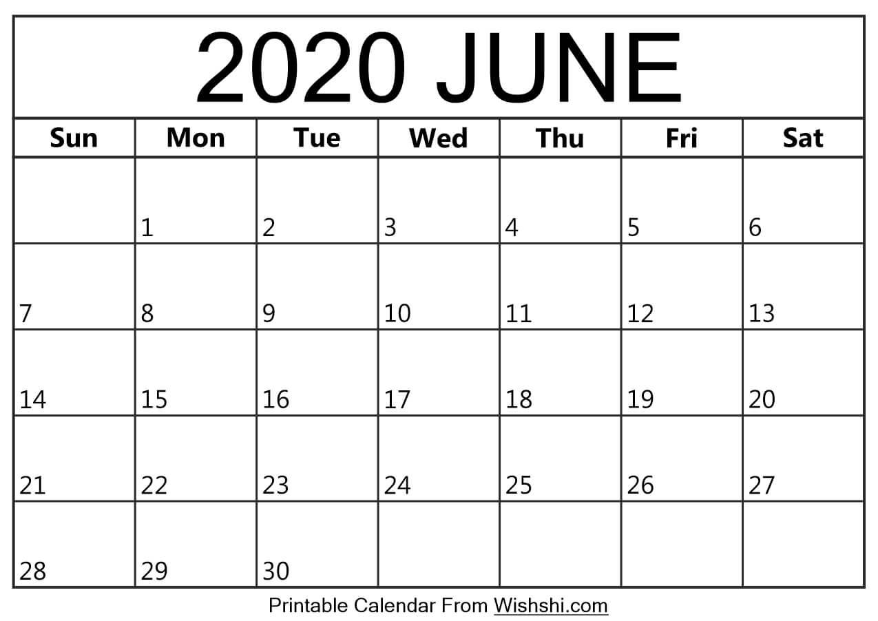 June 2020 Calendar Printable - Free Printable Calendars