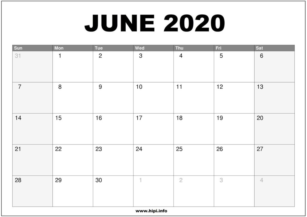June 2020 Calendar Printable - Monthly Calendar Free