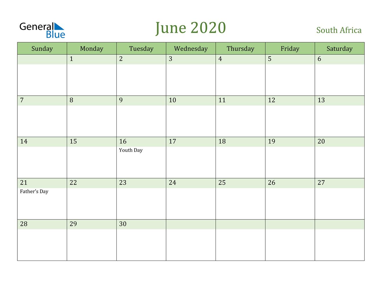 June 2020 Calendar - South Africa