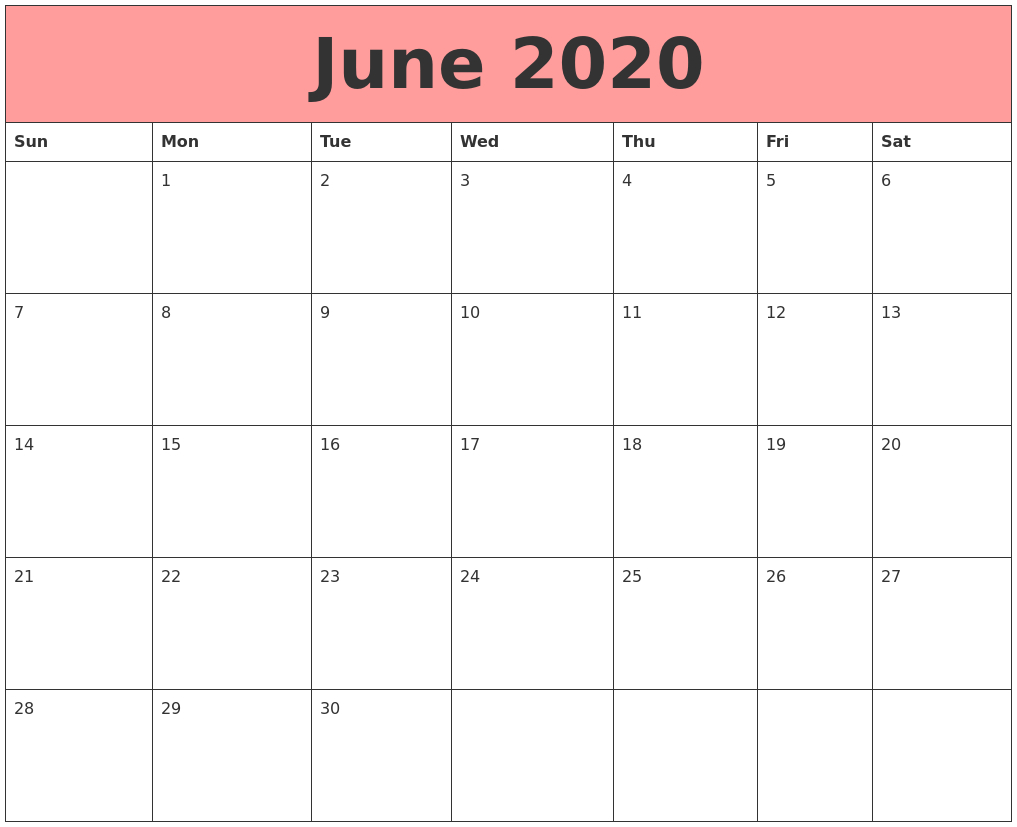 June 2020 Calendars That Work