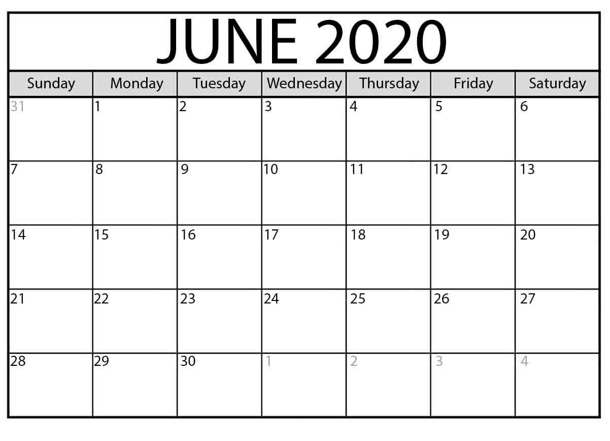 June 2020 Printable Calendar Free Latest Calendar & Holidays.
