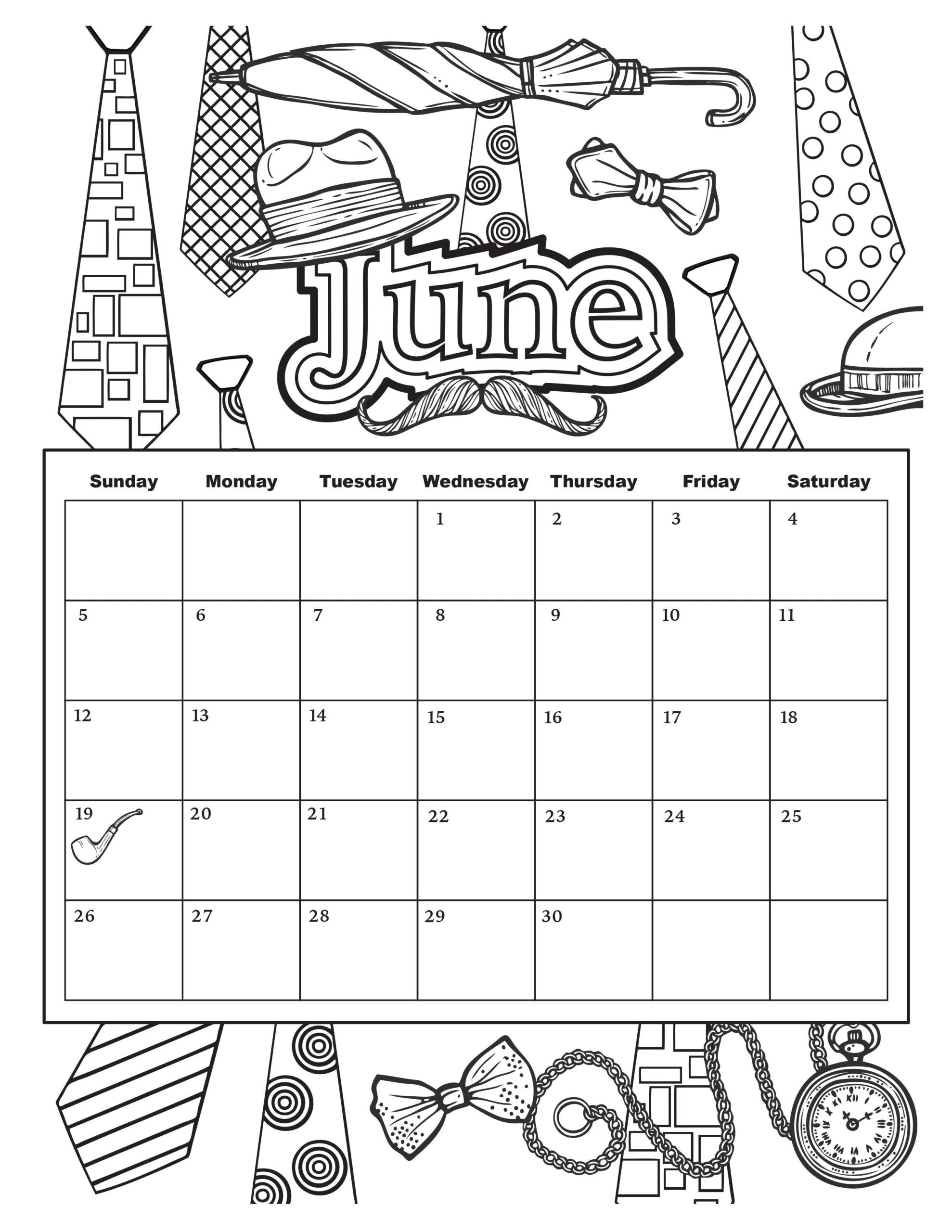 June (2550×3300) | Coloring Calendar, Summer Coloring