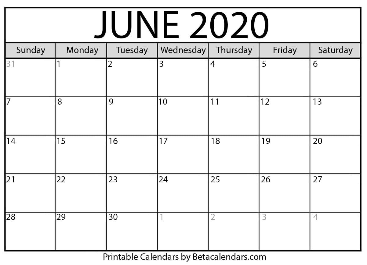 June-August 2020 Blank Clanedars   Example Calendar Printable