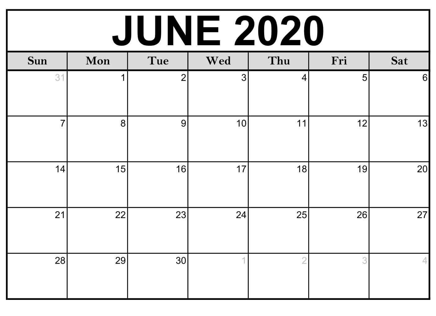June Blank Calendar 2020 - Free Printable Calendar Templates
