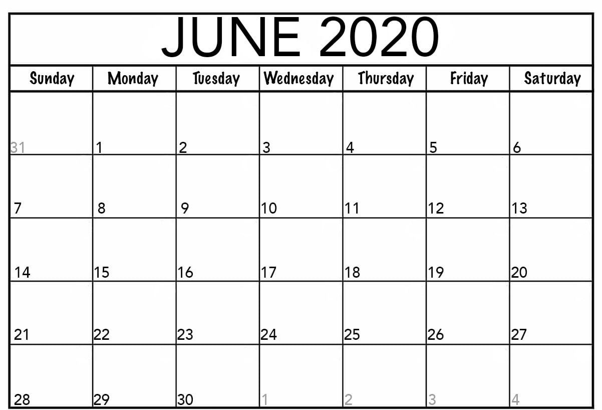 June Calendar 2020 Blank Editable Printable Template In