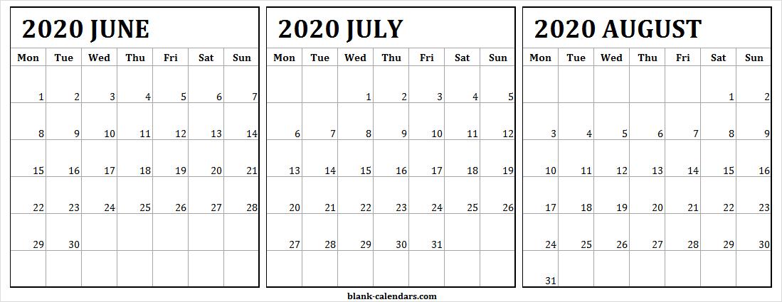 June July August 2020 Calendar Online - Three Month