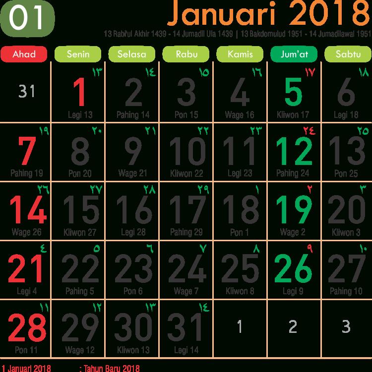 Kalender Bulan Januari 2018 | Download 2020 Calendar