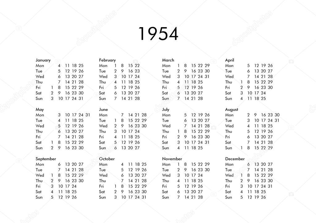 Kalender Des Jahres 1954 — Stockfoto © Claudiodivizia