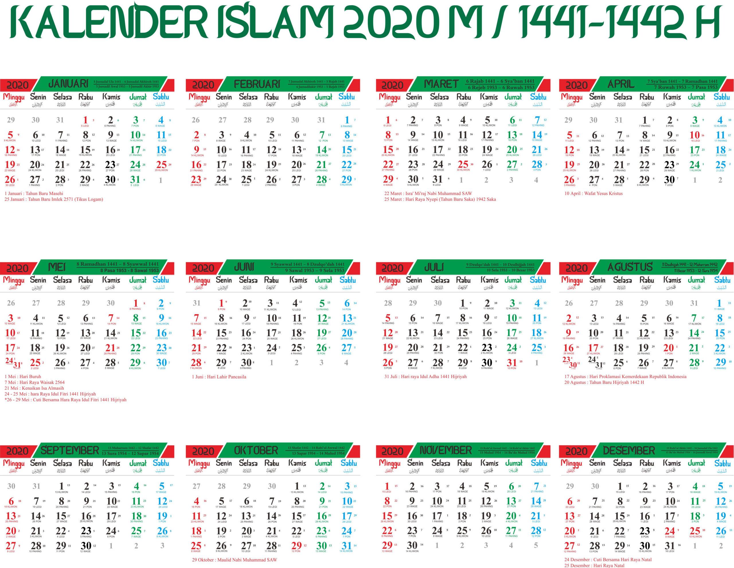 Kalender Islam 2020 Hijriyah 1441-1442 Lengkap Tanggalan Jawa