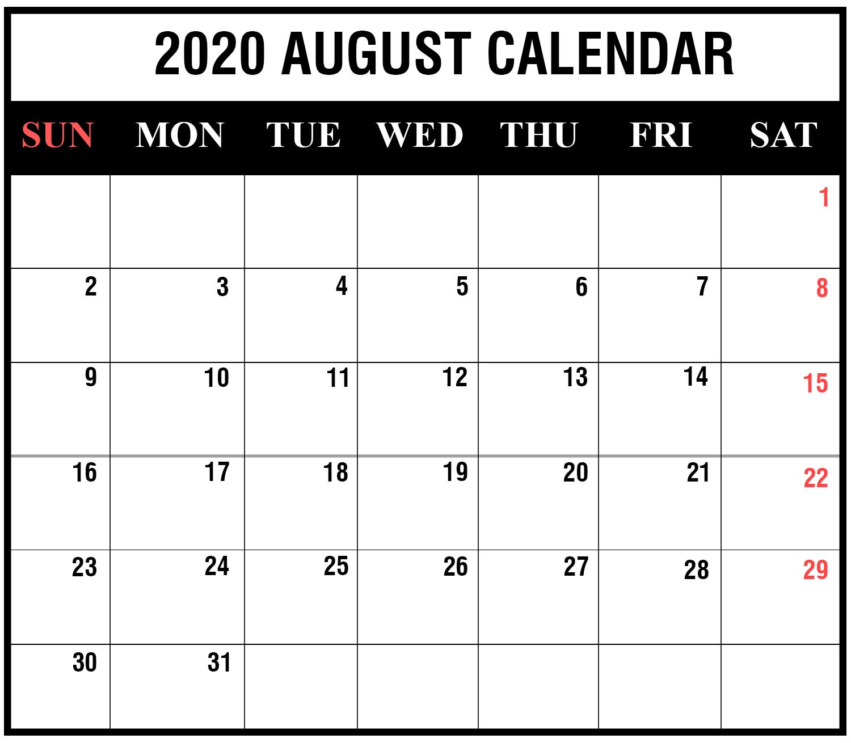 Ko-Fi - August 2020 Calendar Printable - Ko-Fi ️ Where